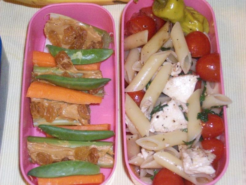 Pasta Salad, celery sticks, carrot sticks